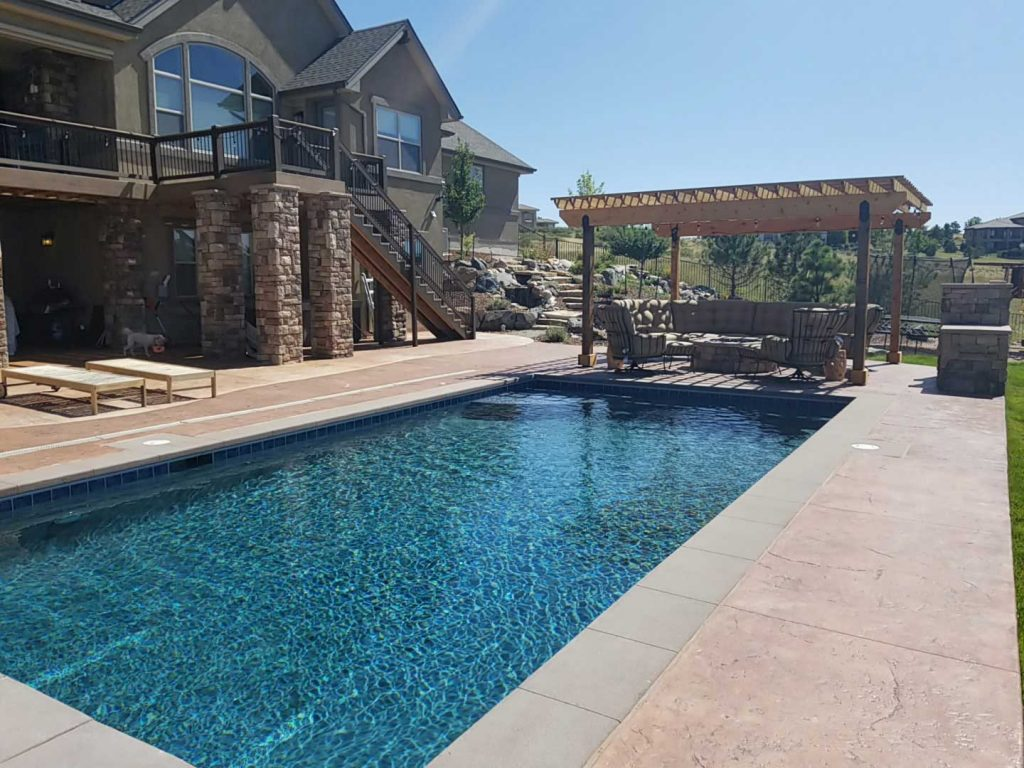 Pool Landscaping with Pergola - Denver, CO