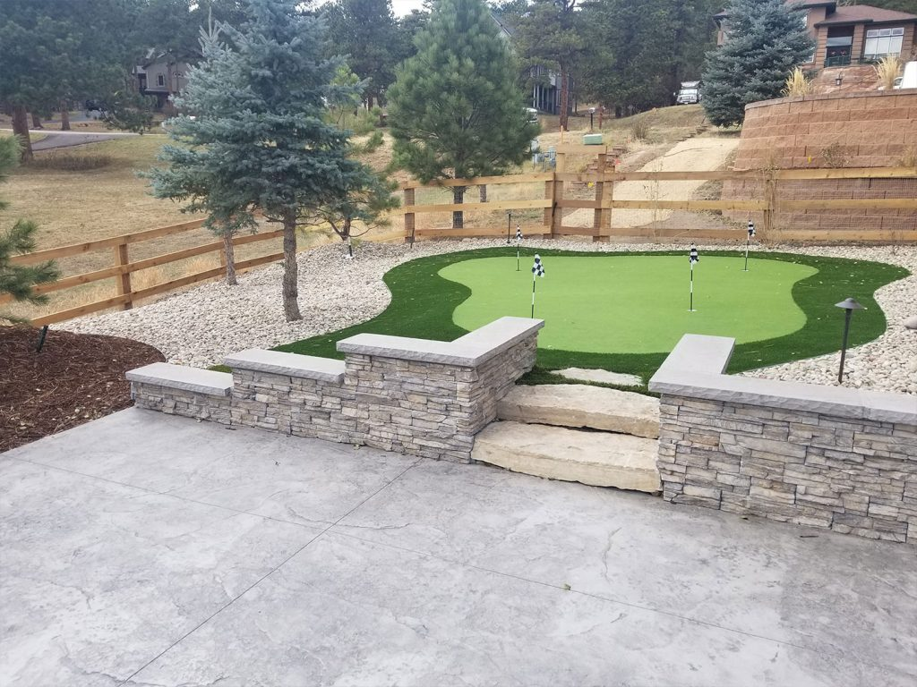 Custom Landscape, Retaining Wall, andf Putting Green