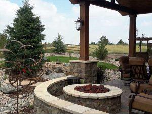 landscaping parker co custom design for backyard includes fire pit