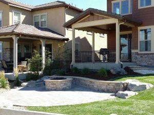 denver landscape design for colorado home backyard including fire pit